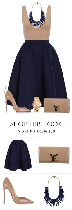 """Beige & Blue"" by avonsblessing94 ❤ liked on Polyvore featuring Natasha Zinko, Louis Vuitton, Christian Louboutin, Yochi and Michael Kors"