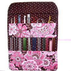 Pink Brown Floral Knitting Needle Case Organizer Crochet Hook Holder Storage Polka Dot Contrast. $19.95, via Etsy.