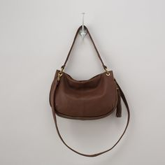 Brown leather bag + gold hardware