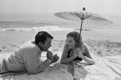 Gregory Peck and Deborah Kerr on location in Malibu for;Beloved Infidel;, 1959.