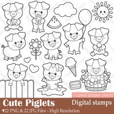 Cute Piglets - Digital Stamps - Clipart