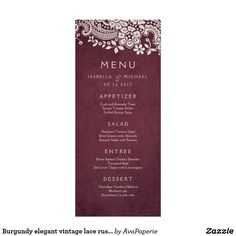 Burgundy elegant vintage lace rustic wedding menu card Vintage floral lace design on cranberry burgundy red background, elegant and classy, great for vintage wedding, rustic wedding, and country wedding in fall and winter. See all the matching pieces in collection below.