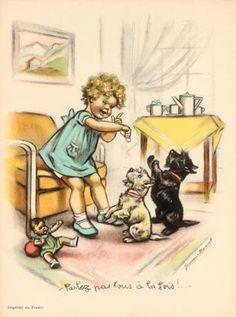 - Parlez pas tous à la fois… with a doll Images Vintage, Vintage Artwork, Vintage Pictures, Vintage Cards, Vintage Postcards, Etiquette Vintage, Wire Fox Terrier, Vintage Paper Dolls, Scottie Dog