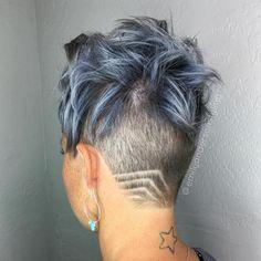 Short Pastel Blue Hair With Back Undercut