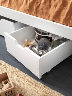 Optimise the under-bed space in your little one's bedroom with these cool pull out drawers. Brilliant for replacing clutter with a neat and ordered look, the petite drawers can store anything from toys, games and books to underwear, clothes and accessories. Extra Storage Space, Under Bed Storage, Storage Spaces, Modern Kids Bedroom, Cool Wall Art, Pull Out Drawers, Life Savers, Bedroom Storage, Clutter