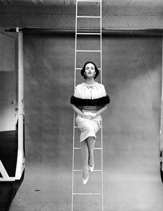 "serafino-finasero: ""Gloria Vanderbilt in dress by Mainbocher New York | photo Richard Avedon | Harper's Bazaar, March 1955 """