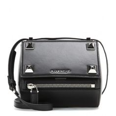 Givenchy Pandora Box Mini Embellished Leather Shoulder Bag (7,710 SAR) ❤ liked on Polyvore featuring bags, handbags, shoulder bags, purses, black, leather purse, leather shoulder handbags, genuine leather purse, black leather purse and mini handbags