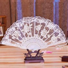 Ladies-Girl-Rose-Flowers-Floral-Summer-Lace-Fabric-Floding-Handheld-Fan-Dancing