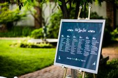 Wedding guest seating chart in Dumbarton House's North Garden, Georgetown
