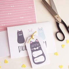 A puuurfect set of cat-themed stationery printables inspired by Celina's  Pinterest boards - simple, yet bold cat imagery paired with a soft pastel  color palette.