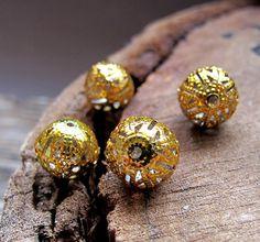 Golden Enamel Beads. Filigree Hollow Tiny Ball by NadinArtGlass, $4.25