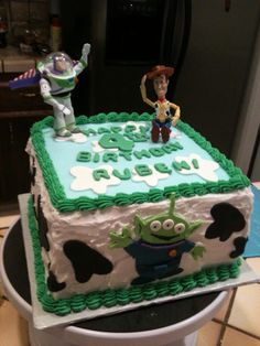 Square Toy Story cake.  Buttercream and fondant decorations.