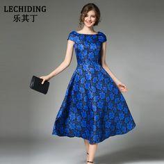 LECHIDING Elegant Ladies Party Dress Fashionable Summer Long Dresses Vintage Short Sleeve Blue Robe Femme Floral Print S M L XXL #Affiliate