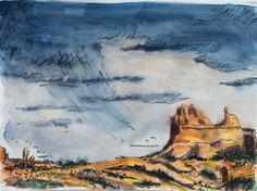 Arches National Park Illustration Utah Art by LetsAllMakeBelieve