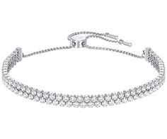 This timeless rhodium-plated bracelet is an ideal gift for lovers of sparkle. Two delicate strands of clear stones are set in a new cupchain design.... Shop now