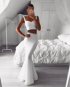 Gorgeous Two Pieces White Prom Dress Mermaid Beadings Evening Gowns On Sale Item Code: Evening Gowns On Sale, Evening Dresses, Prom Dresses Uk, Dress Prom, Wedding Dresses, Bridesmaid Dresses, Elegant Dresses For Women, Trendy Dresses, White Prom Dresses
