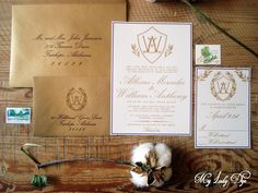 This charming wedding invitation suite is full of Southern elegance! A crested monogram with olive leaves and an overlapping monogram...not to mention all the gold and the matching addressing!  This is our Allexus Collection.  Shop at www.MyLadyDye.com #myladydye