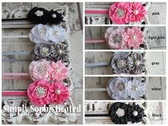 Simply Sophisticated headbands - black, white, gray, light pink, pink and cream (not pictured)  www.Facebook.com/mandminthemirror