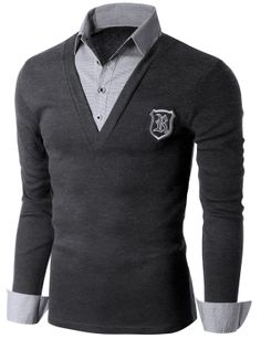 8e27fef676 Doublju Men s Check Shirt Layered V-neck T-shirt with Chest Wappen  (KMTTL0138