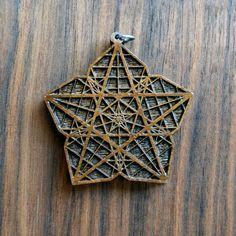 Five Sided Star Flower Pendant - Sacred Geometry Laser Cut Natural Wood LT10030