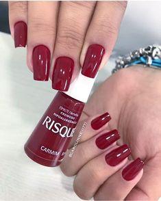 Acrylic Nails Short Christmas Red 66 Ideas For 2020 Red Gel Nails, Gel Nail Polish Colors, Aycrlic Nails, Love Nails, Pink Nails, Nail Colors, Garra, Acrylic Nails Coffin Grey, Natrual Nails