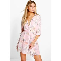 Boohoo Savannah Floral Shirt Dress featuring polyvore, women's fashion, clothing, dresses, pink, floral bodycon dress, holiday dresses, floral cocktail dresses, cocktail dresses and pink cocktail dress