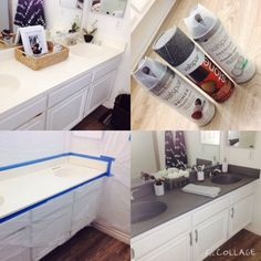 DIY | painting bathroom countertops using stone spray paint #BathroomRemodel