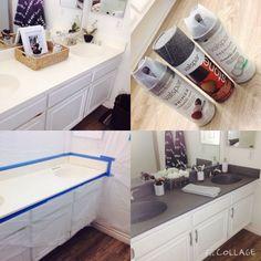 DIY | painting bathroom countertops using stone spray paint #BathroomRemodel