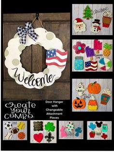 Door Hanger Wreath with interchangeable attachments FREE Diy Signs, Home Signs, Wooden Crafts, Diy Crafts, Tree Crafts, Interchangeable Wreath, Firefly Mason Jars, Wooden Wreaths, Wooden Door Hangers