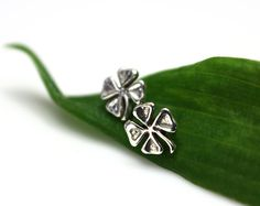 Four Leaf Clover Sterling Silver Post by MountainMetalcraft, $22.00