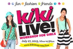 KikiLIVE! is a brand new event for girls who want to unleash their creativity and explore the world around them through the lens of fashion design. This all-day workshop will feature unique sessions and activities developed to entertain, enrich, and empower!