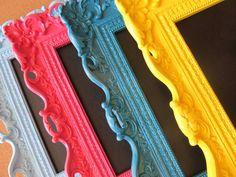 FRAMED CHALKBOARD Bright Colors Teal Pink Aqua by ShugabeeLane, $32.00