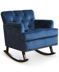 Aydan Velvet Nailhead Rocker, Direct Ship - Furniture - Macy's