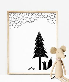 SCANDINAVIAN NURSERY SET Black and White Prints Nursery Wall