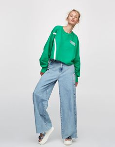 :Sporty crop sweatshirt