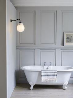 grey scheme bathroom with panels and white freestanding bath Cottage Bathroom Design Ideas, Bathroom Interior Design, Bathroom Ideas, Bathroom Designs, Bathroom Paneling, Bathroom Furniture, Modern Bathroom, Master Bathroom, Bathroom Taps