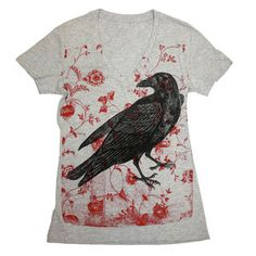 Raven Over Roses Tee Women's, $24, now featured on Fab.