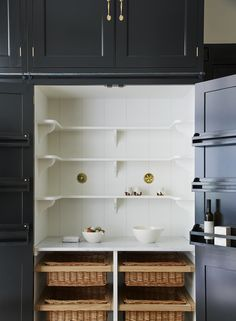 The perfect Plain English Larder Cupboard...every kitchen should have a pantry or a larder like this one. Bespoke, made to order in England and hand painted. Interior Designers and Cupboard makers.