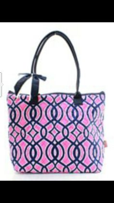 "16"" Quilted Vine Print Tote Bag.  Available in Pink or Navy.  Perfect size bag for gym, cheer, sports, pool, overnight, diaper bag.  Monogram ready. Order at www.laurastreasuretrove.com. $22.95!!"