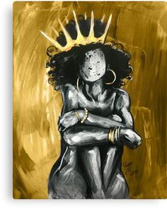 High quality Naturally gifts and merchandise. Inspired designs on t-shirts, posters, stickers, home decor, and more by independent artists and designers from around the world. Black Art Painting, Black Artwork, African American Art, African Art, African Tattoo, African Queen Tattoo, Gold Canvas, Black Canvas, Crown Art