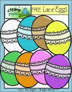 Free clip art: FREE Lace Easter Eggs Clip Art Set - by Chirp Graphics.
