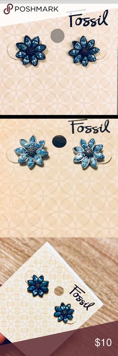 NWT Fossil Blue Flower Earrings New, never been worn earrings. Pretty pale blue petals. Edge of one stone is chipped as shown in pictures. Priced accordingly. Each earring is approximately 1/2 inch big. Fossil Jewelry Earrings