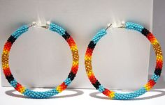 Turquoise Native American Beaded Hoop Earrings. $45.00, via Etsy.