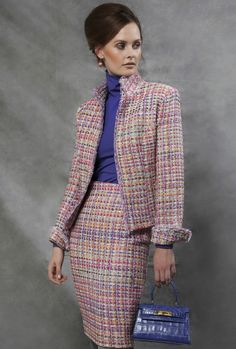 Checked Tweed Jacket in Soft Pink - Lydia