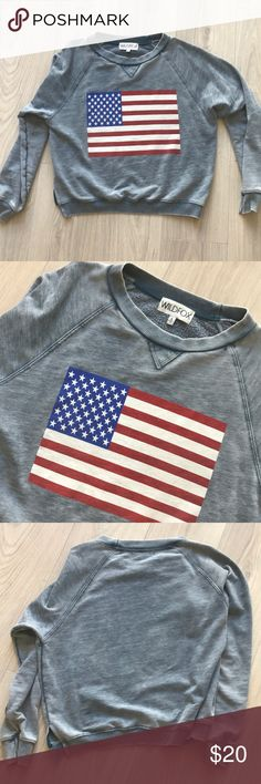 WILDFOX USA American Flag Sweatshirt S WILDFOX  Size small  Great condition! Super soft, beautiful worn-in look. No holes etc Wildfox Sweaters Crew & Scoop Necks