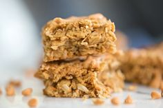 Chewy Peanut Butter Coconut Oat Granola Bars. Butterscotch Optional.