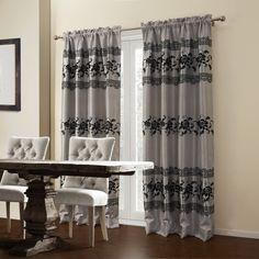 Floral Mediterranean Grey Blackout Curtains   #curtains #decor #homedecor #homeinterior #grey