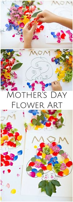 Make beautiful Mother's Day flower art with the kids. Wouldn't these make pretty cards? Art Activities For Kids, Craft Projects For Kids, Paper Crafts For Kids, Fun Crafts, Art For Kids, Arts And Crafts, Kids Fun, Summer Activities, Mothers Day Crafts For Kids