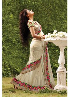 Creamy georgette saree with pearl motif work with zari embroidered border. #SalwarKameez #Salwar #Indian #Ethnic #Anarkali #LongAnarkali #FloorlengthAnarkali #PartywearAnarkali #India #IndianEthnicWear #Beautiful #Designerwear #PartywearSaree #DesignerSaree #BridalSaree #Bridal #Sari #BridalLehenga #Lehenga