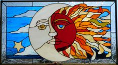 STARRY SUN & MOON  Stained glass window by LegacyStainedGlass, $210.00